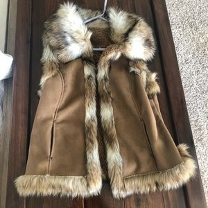 Scully faux fur vest western country tan large